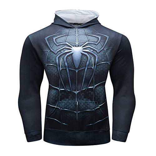 Superhero SPM Compression Shirt Mens Dri fit Gym Top Pullover Costume with Hood2XL