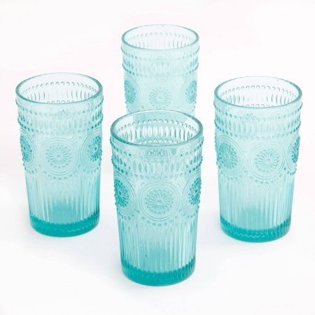 (The Pioneer Woman Adeline 16-Ounce Emboss Glass Tumblers, Set of 4 (Turquoise))