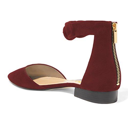 Fsj Femmes Classique Pointu Orteil Cheville Sangle Dorsay Appartements Fermeture À Glissière Confortable Chaussures De Marche Taille 4-15 Nous Vin