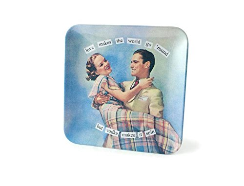 Anne Taintor Melamine Mini Serving Tray Plate - Love Makes the World Go Round (Love Round Serving Plate)