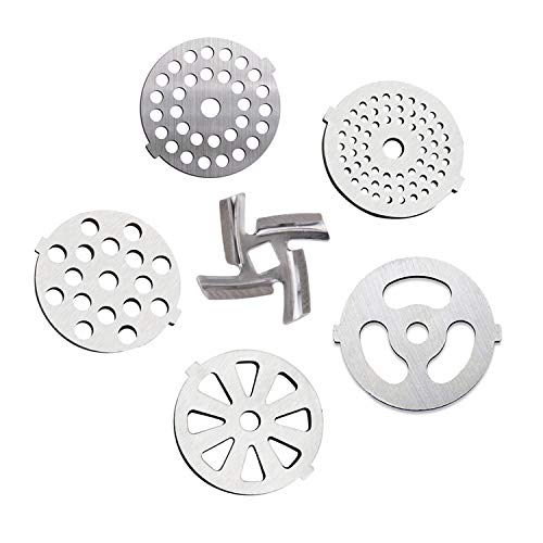 6 Piece Stainless Steel Meat Grinder Plate Discs Blades for