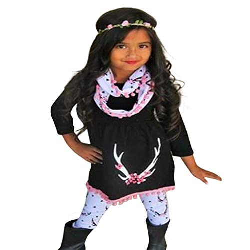 Infant Toddler Baby Girls Fall Winter Clothes Outfit 1-5 Years Old,3Pcs Cute Deer Print Tops+ Pants +Scarf Set (2-3 Years Old, Black)