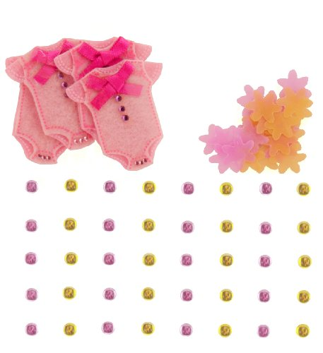 Jolee's Boutique Dimensional Embellishments, Baby Girl Confetti and Gem Stickers