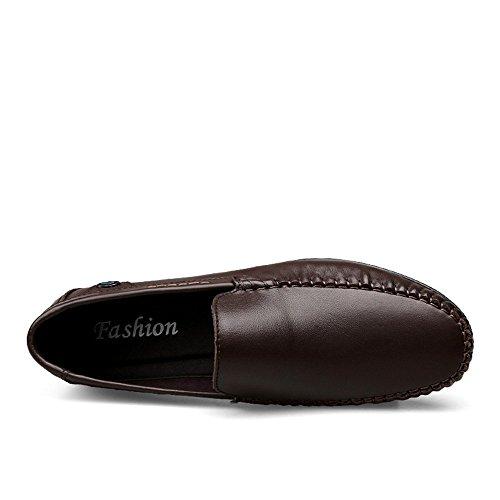 guida slip uomo Scarpe EU on shoes Mocassini stile in 2018 Da Color con pelle Marrone Mocassino Dimensione minimalista Shufang da Mocassino Uomo Mocassino 44 di vacchetta tacco piatto z1wUqf55