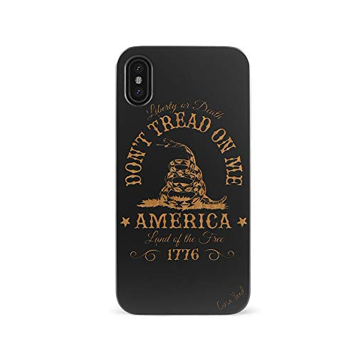 iPhone Xs Max Case, CaseYard Protective, Hybrid, Lightweight, Fashionable iPhone Xs Max Slim Wood Case, Made in California (iPhone Xs Max) (Black) Don't Tread On Me