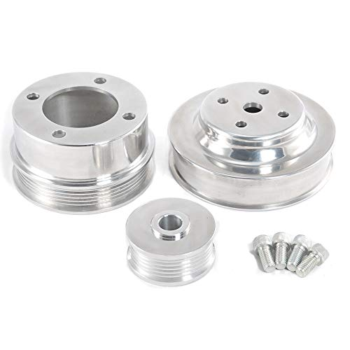 - 1986-1993 Mustang 5.0 EFI Polished Billet Aluminum Underdrive Pulleys 3pc