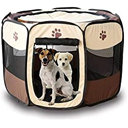 BFY Pet Folding Cage 600D Portable Oxford Dog Playpen Pet Fence Kennel Puppy Kitten Sleeping House Outdoor Exercise Pet Tent