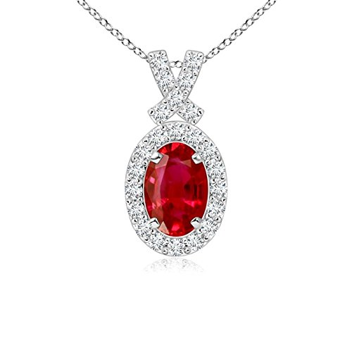(Vintage Style Ruby Pendant with Diamond Halo in 14K White Gold (6x4mm Ruby))
