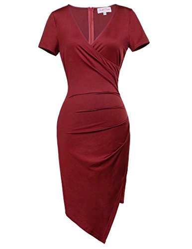 Courte Robe V Rouge Vineux Belle FR363 Hanches Col Robe Poque Enveloppes Manche Femme 636 2 Asymtrique Crayon Bodycon YrZw4qY