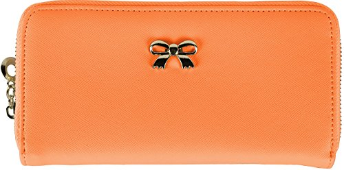GPCT Women's Zippered Synthetic Leather Clutch Wallet (Orange) (Clutch Wallet Synthetic Leather)