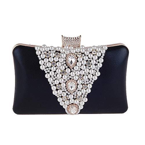 Yzibei pratico Borsa da sera con borsa da sera per donna con frange di perle tempestate di diamanti (Colore : Oro) Nero
