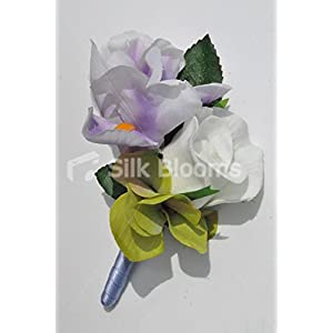 Gorgeous Artificial Purple Iris and Ivory Rose Buttonhole with Hydrangea 16