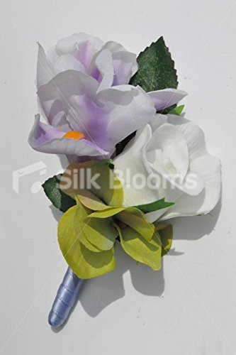 Gorgeous-Artificial-Purple-Iris-and-Ivory-Rose-Buttonhole-with-Hydrangea