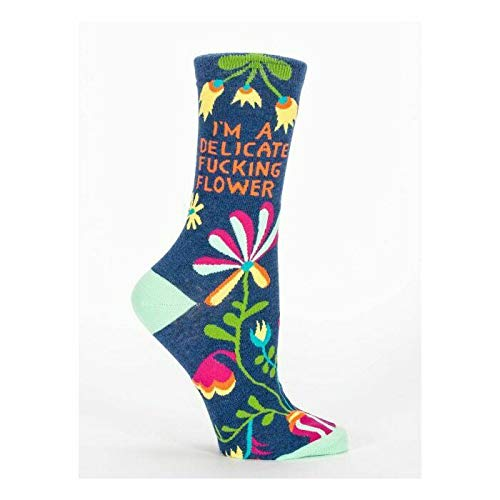 Blue Q Socks, Women's Crew, I'm A Delicate F–king Flower