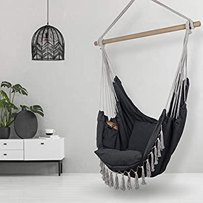 Hammock Chair | Hanging Rope Swing Seat for Indoor & Outdoor | Soft & Durable Cotton Canvas | 2 Cushions Included | Large Reading Chair with Pocket for Bedroom, Patio, Porch