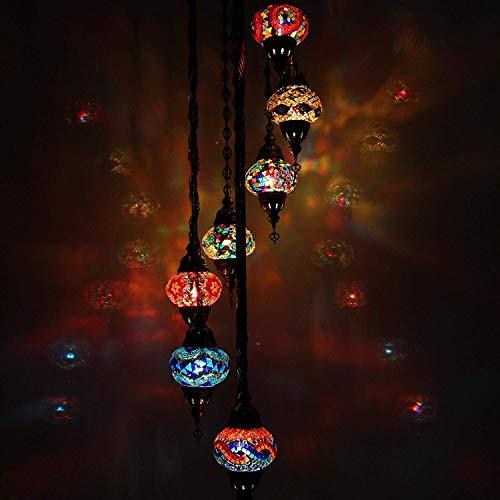 Handmade Multicolor Turkish Moroccan Lantern Ottoman Style Mosaic Floor Lamp with 7 Medium Size Globes