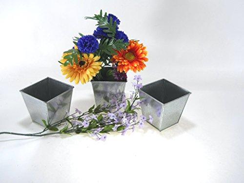 3 pc.set Square Galvanized Pot Bucket 4'' tall x 4'' wide by DC Mach Inc.