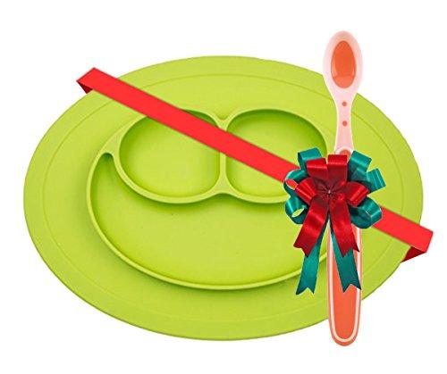 Novedoso Mini-Tapete Antideslizante y Adherente Con Plato Para Bebe / Niño(a) Happy Face Color Verde + Cuchara Hot Safe De Regalo !!!. Niños y Bebes (6 - 48 meses)