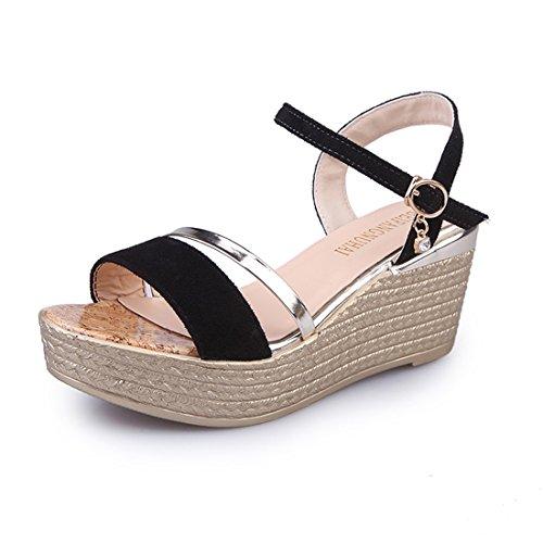 Malloom Sandalen, Damen Sommer High Heel Hausschuhe Open Toe Wedge Plattform Verstellbarer Riemen Sandalen Schwarz