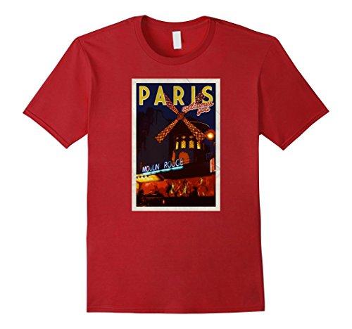 Mens Cute Paris Postcard Moulin Rouge Travel Boho France T Shirt Medium (Moulin Rouge Clothes)