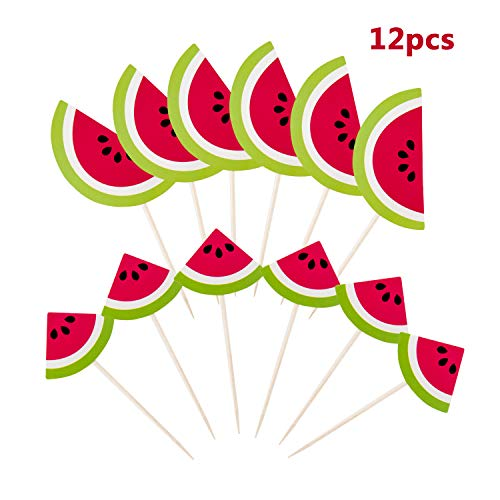 Yunko 12pcs Summer Watermelon Party Fun Cup Cake Decorative Toppers Cupcake Decorating Tools for -
