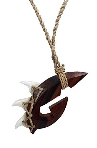 Shark Tooth Necklace Manu Makau Shark Fish Hook Maori Wooden Necklace w/3 Teeth Shark's Tooth Wood Necklace- Shark (Brown)