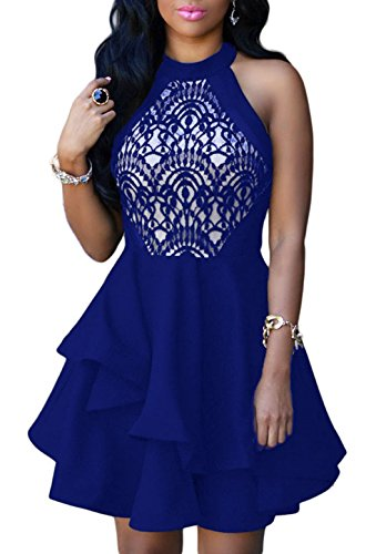 3461e1cdf34 ZKESS Women s Sleeveless Lace Party Club Cocktail Skater Dress