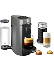 Nespresso VertuoPlus Coffee and Espresso Maker Bundle with Aeroccino Milk Frother by De'Longhi, Grey
