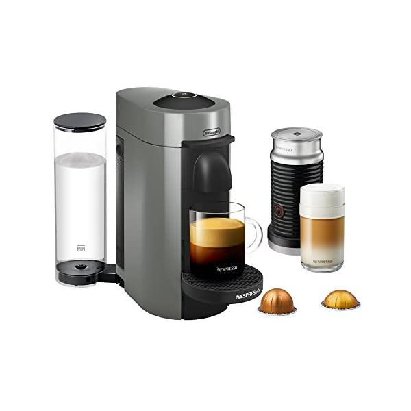 Nespresso VertuoPlus Coffee and Espresso Maker Bundle with Aeroccino Milk Frother by De'Longhi, Grey 1