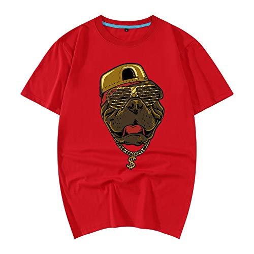 Los Animal 3d Summer De Dress 2018 Algodón pullover Loose Camiseta Pattern 195 Hombres 2 4xl Manga 3d Red Corta wXqH6x7