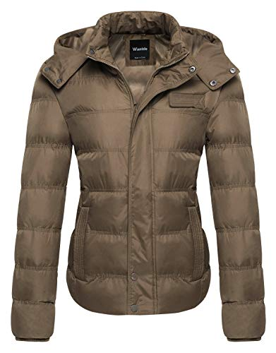 Wantdo Women's Fleece Windproof Coat Winter Quilted Puffer Jacket Large Khaki