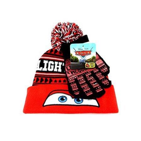 Disney Boys Lightning Mcqueen Knit Beanie Winter Hat & Gl...