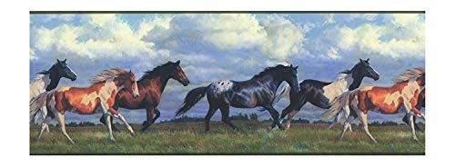 York Wallcoverings Lake Forest Lodge NV9448B Horses Running Free Border, Multi/Green Band (Wallpaper Border Cloud)