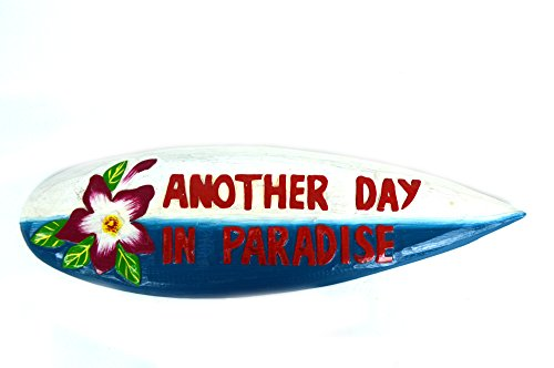 - Hand Carved Wooden Blue Hibiscus Flower Another Day in Paradise Cocktails Drinking Beach Surfboard Sign