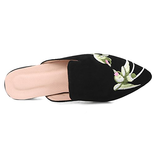 Artfaerie Women's Flats Suede Pointed Toe Slingback Mules Embroidery Outdoor Dress Slippers Black nLZwU