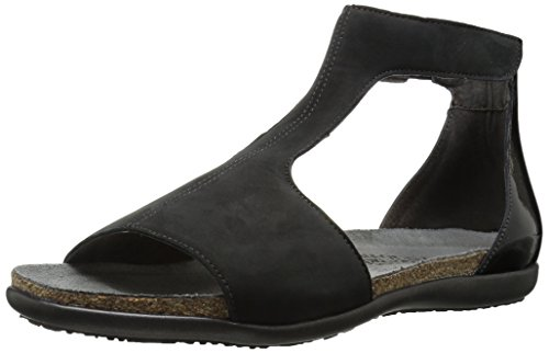 Velvet Suede Footwear - Naot Footwear Women's Nala, Black Velvet Nubuck/Black Luster Leather, 40 (US Women's 9) M