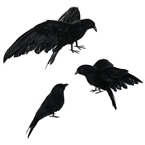 ASSR Halloween Realistic Handmade Crow Prop, 3 Pack Black Feathered Fly and Stand Crows for Outdoors and Indoors Display Decors ()