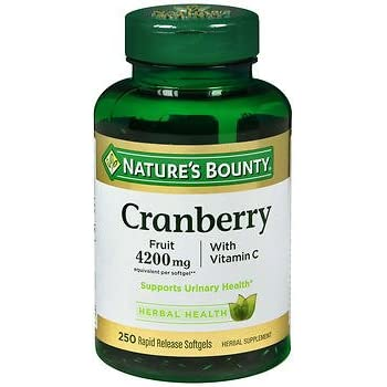 Nature's Bounty Cranberry Fruit 4200mg/ Plus Vitamin C 250 Softgels (Pack of 2)