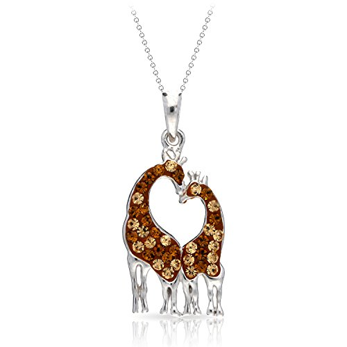 Gentle & Elegant Giraffe Couple in Love Pendant Necklace Never Rust 925 Sterling Silver Hypoallergenic Chain for Women and Girls, with Free Breathtaking Gift Box for Special Moments of Love