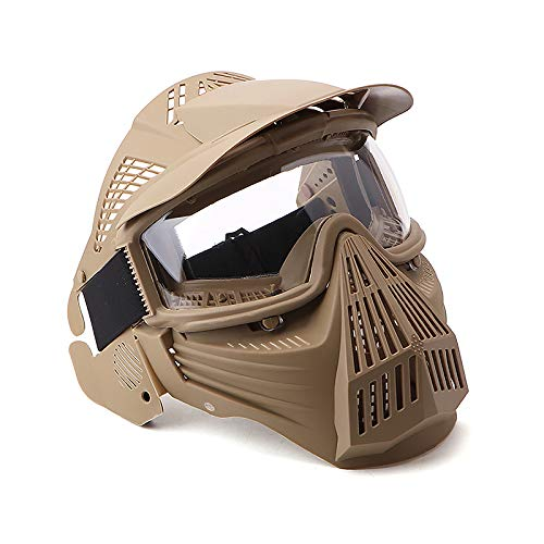 NINAT Tactical Paintball Mask, Airsoft Mask Full Face with Lens Goggles Eye Protection for CS Survival Games BBS Shooting and Other Airsoft Safety Mask Paintball Goggles-Tan by NINAT