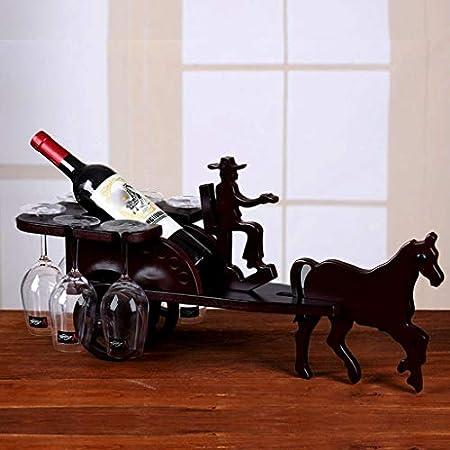Estantería de vino Jiale Portavasa de vino europea de madera-HJCA10229 Personalidad creativa Modelado Titular de copa de vino invertida Ornamentos decorativos multifuncionales 63 * 23 * 32cm Color de