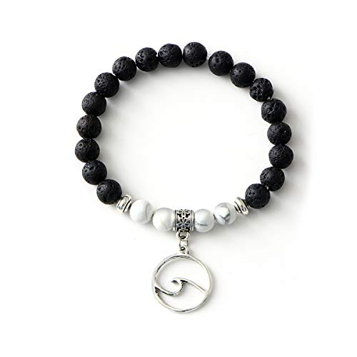 (17mile Volcanic Stone Marble Charm Essential Oil Diffuser Bracelet Stretchable Prayer Stone Bracelet Natural Gemstone Wave Peace Dove Gifts for Women)