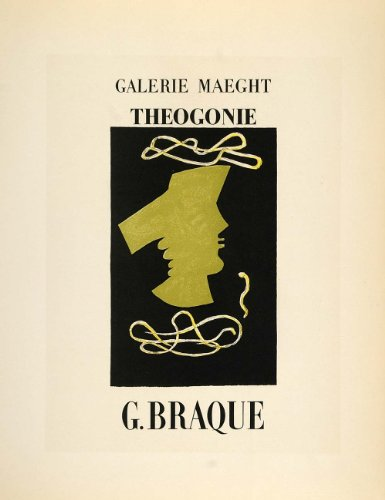 1959 Lithograph Georges Braque Poster Art Theogonie Galerie Maeght Mourlot - Original Lithograph