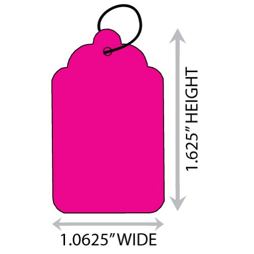 """Fluorescent Pink #5 (1.0625"""" X 1.625"""") Merchandise Tag With String. Case of 2,000 Tags."""