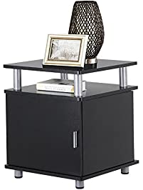 Topeakmart Black Wood End Tables Bedroom Nightstands Bedside Storage  Cabinet With Door And Shelf