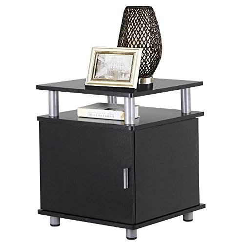 Yaheetech 2 Tier Square End Tables Nightstands with Storage Cabinet for Living Room Bedroom, Black