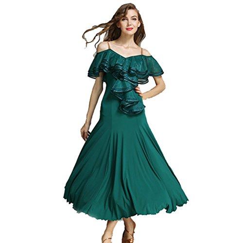 Green Silk Dress Dance (Women French Classic Luxury Big Lotus Leaf Swing Ice Silk Latin Dance Costume Flamenco Ballroom Waltz Salsa Dance Dress (L, Deep Green))