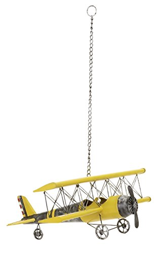 Biplane Yellow - Deco 79 Metal Plane Perfect Anytime Gift