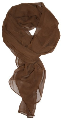 Tanu Collections Silk Blend Oblong Chiffon Scarf in Solid Colors (Brown Viscose Scarf)