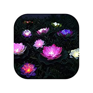 Sweet*love 5 Pieces Artificial Led Optic Fibre Light Fake Lotus Leaf Flowers Lily Waterproof Pond Flower Wedding Party Decoration 81